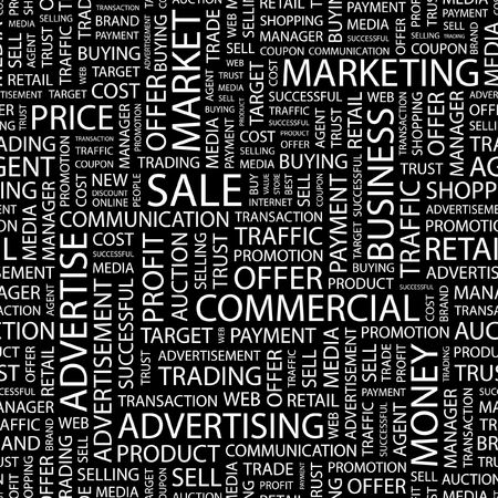 purchasing manager: SALE. Seamless pattern with word cloud.