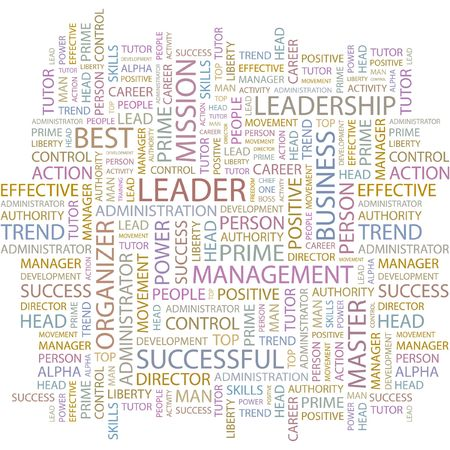 superintendent: LEADER. Word collage on white background.