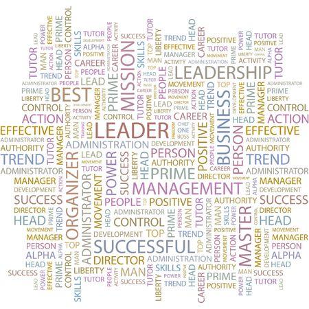 felügyelő: LEADER. Word collage on white background.