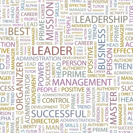 kingpin: LEADER. Seamless background. Wordcloud illustration.