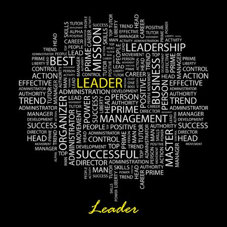 superintendent: LEADER. Word collage on black background.
