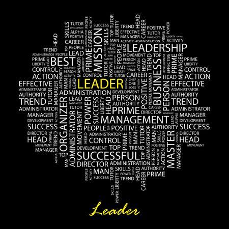transactional: LEADER. Word collage on black background.