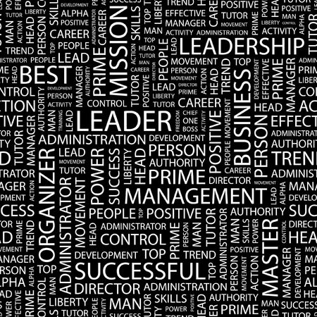 LEADER. Seamless pattern with word cloud.   Vector