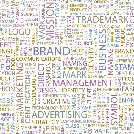 personality development: BRAND. Seamless background. Wordcloud illustration.   Illustration