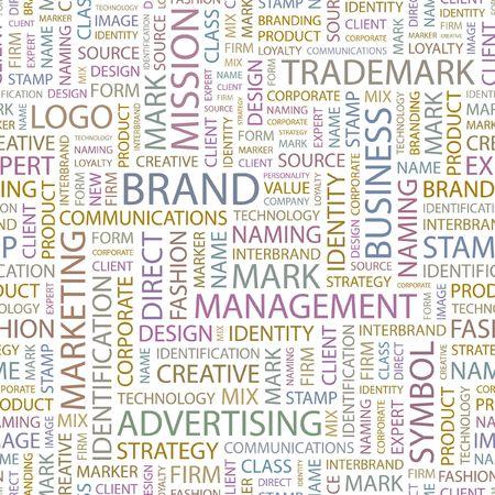 interbrand: BRAND. Seamless background. Wordcloud illustration.   Illustration