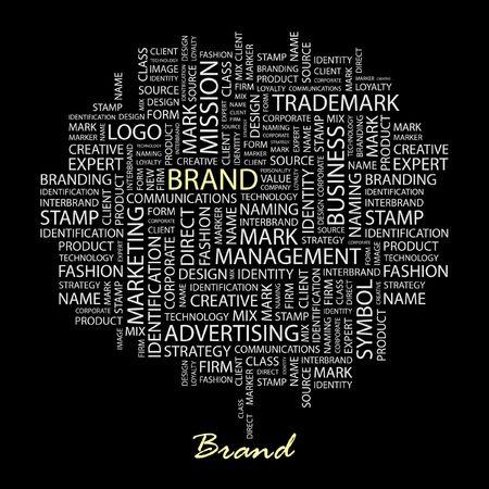 interbrand: BRAND. Word collage on black background.