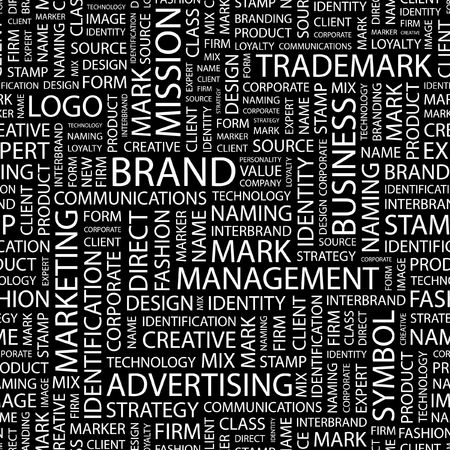 personality development: BRAND. Seamless pattern with word cloud.   Illustration