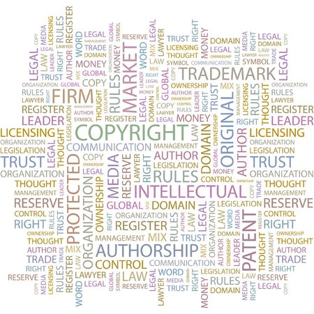 authorship: COPYRIGHT. Word collage on white background.