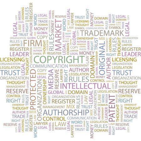 authorship: COPYRIGHT. Word collage on white background.