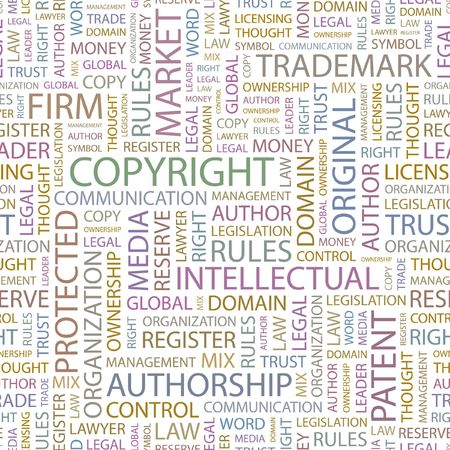 property rights: DERECHOS DE AUTOR. Fondo transparente. Ilustraci�n de Wordcloud.
