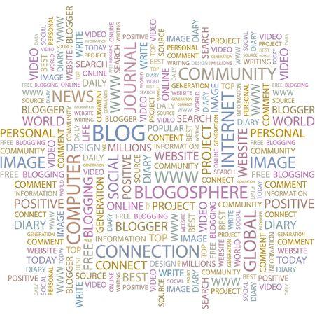 BLOG. Word collage on white background. Illustration