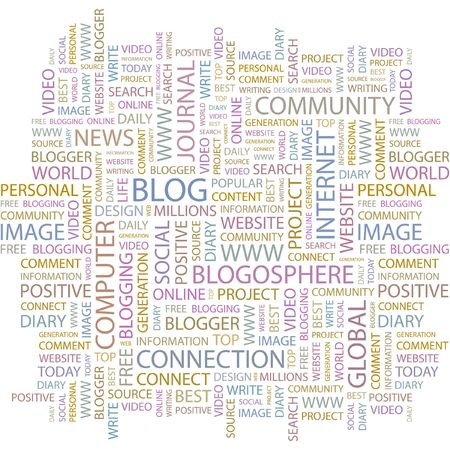blogosphere: BLOG. Word collage on white background. Illustration