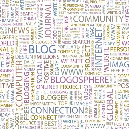 blogosphere: BLOG. Seamless background. Wordcloud illustration.   Illustration