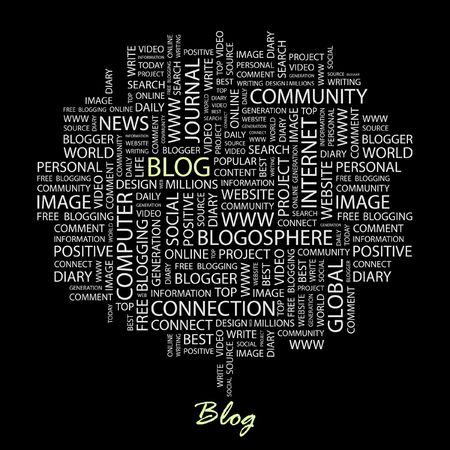 BLOG. Word collage on black background.  Vector