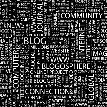 blogosphere: BLOG. Seamless pattern with word cloud.