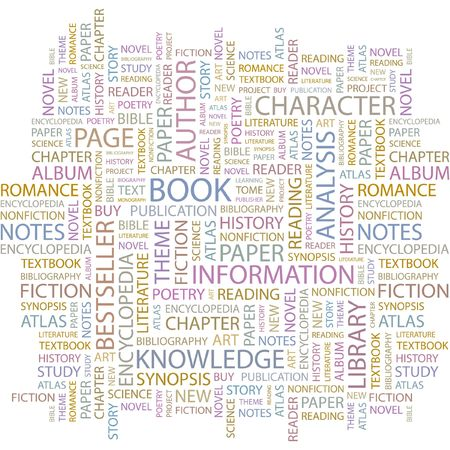 biography: BOOK. Word collage on white background.