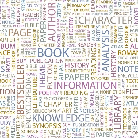 monograph: BOOK. Seamless background. Wordcloud illustration.