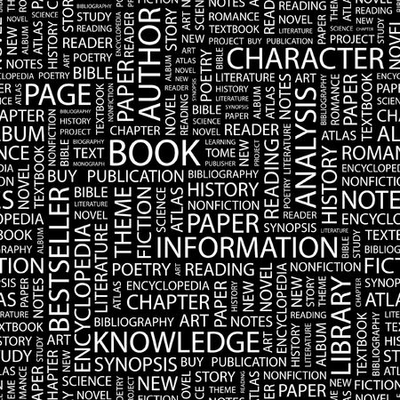 monograph: BOOK. Seamless pattern with word cloud.   Illustration
