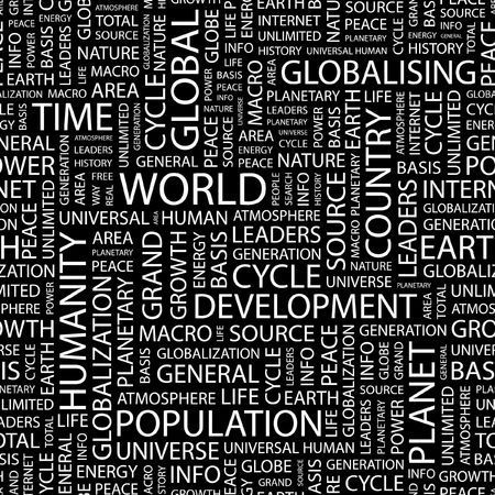 personality development: WORLD. Seamless pattern with word cloud.