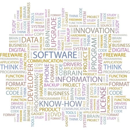 sistema operativo: SOFTWARE. Palabra collage sobre fondo blanco.