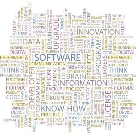 shareware: SOFTWARE. Word collage on white background. Illustration