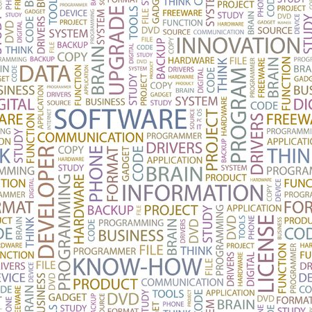 SOFTWARE. Seamless background. Wordcloud illustration.  Vector