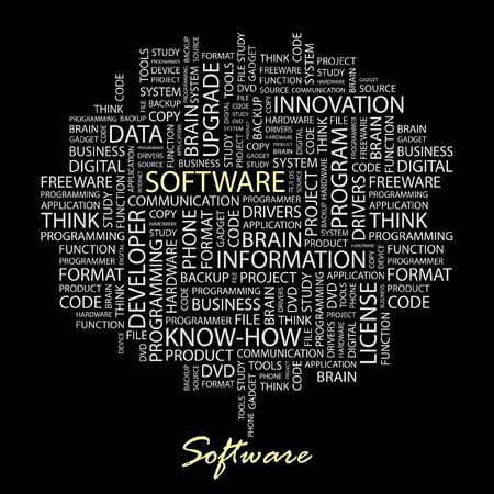 text tool: SOFTWARE. Word collage on black background.