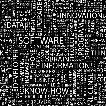 SOFTWARE. Seamless pattern with word cloud.   Vector