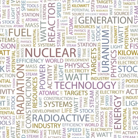 NUCLEAR. Seamless background. Wordcloud illustration. Stock Vector - 6879381