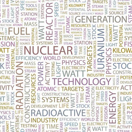 kilowatts: NUCLEAR. Seamless background. Wordcloud illustration.
