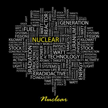 NUCLEAR. Word collage on black background. Stock Vector - 6879919
