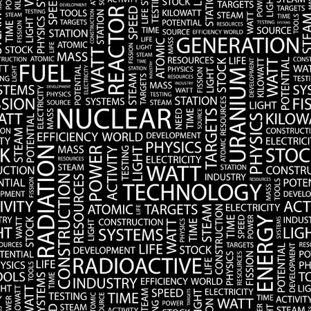 NUCLEAR. Seamless pattern with word cloud.