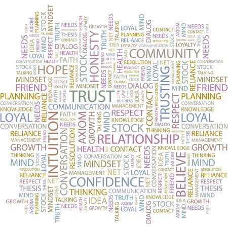 reliance: TRUST. Word collage on white background. Vector illustration.
