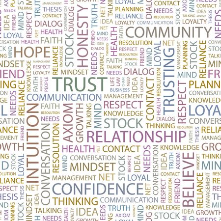 reliance: TRUST. Seamless background. Wordcloud illustration.