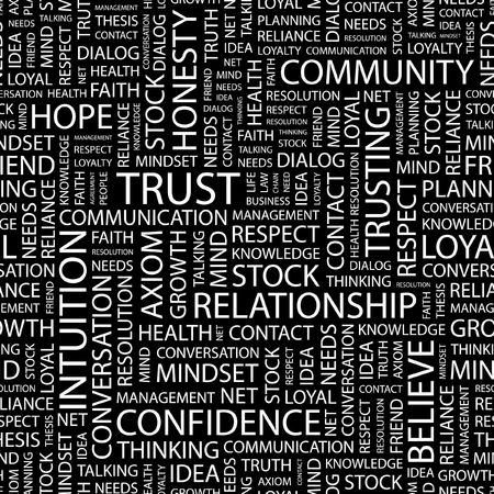 reliance: TRUST. Seamless pattern with word cloud.   Illustration