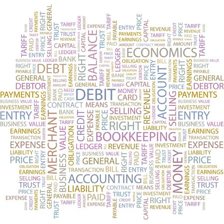 ledger: DEBIT. Word collage on white background.