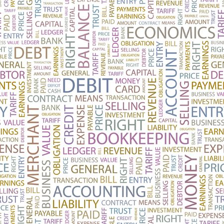 DEBIT. Seamless background. Wordcloud illustration.