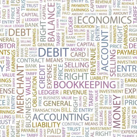DEBIT. Seamless background. Wordcloud illustration.   Vector