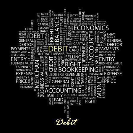 payable: D�BITO. Palabra collage sobre fondo negro.