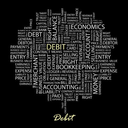 ledger: DEBIT. Word collage on black background.