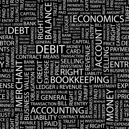 accounts payable: DEBIT. Seamless pattern with word cloud.