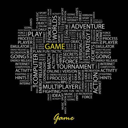 juego: JUEGO. Palabra collage sobre fondo negro.