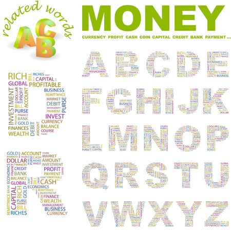 obligee: MONEY.  letter collection. Word cloud illustration.