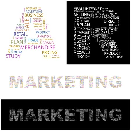 retailing: MARKETING. Word collage.  illustration.