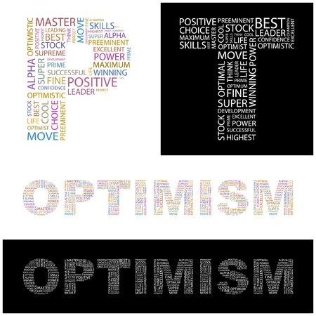 inimitable: OPTIMISM. Word collage.  illustration.    Illustration