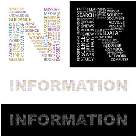 cognizance: INFORMATION. Word collage.  illustration.    Illustration