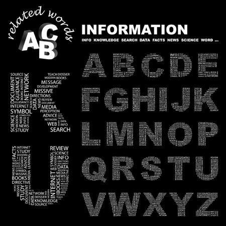 의식: INFORMATION. letter collection. Word cloud illustration.