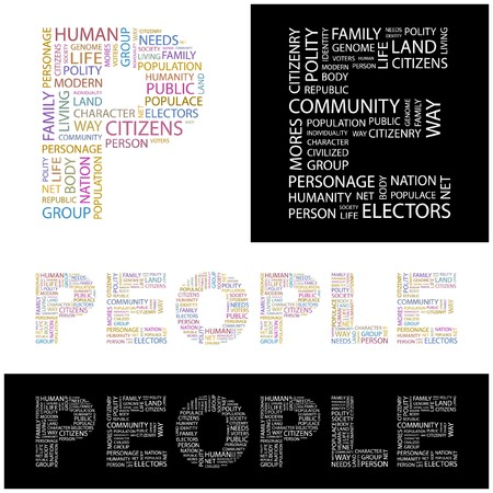 commonality: PEOPLE. Word collage. illustration.
