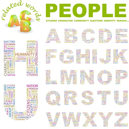commonality: PEOPLE.  letter collection. Word cloud illustration.