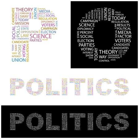 POLITICS. Word collage. illustration.    Vector